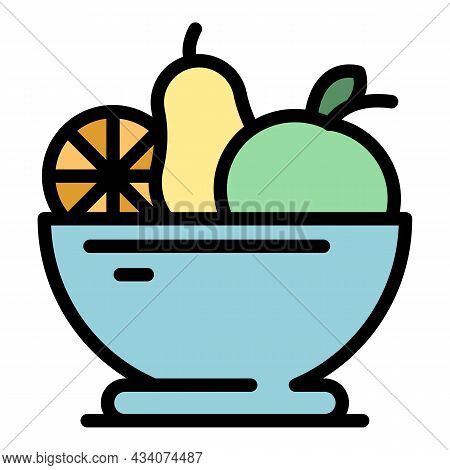 Diet Fruit Salad Icon. Outline Diet Fruit Salad Vector Icon Color Flat Isolated