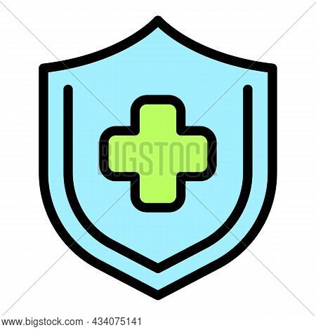 Shield Health Care Icon. Outline Shield Health Care Vector Icon Color Flat Isolated