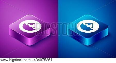 Isometric Carton Cardboard Box Icon Isolated On Blue And Purple Background. Box, Package, Parcel Sig