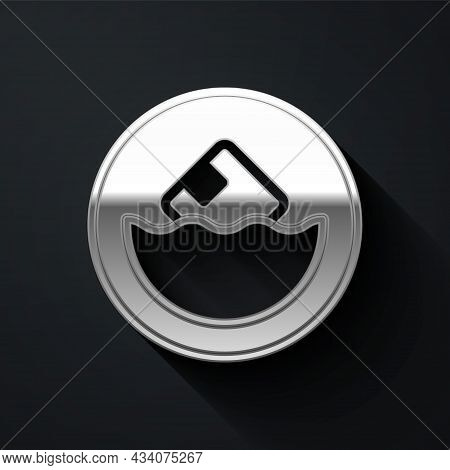 Silver Carton Cardboard Box Icon Isolated On Black Background. Box, Package, Parcel Sign. Delivery A