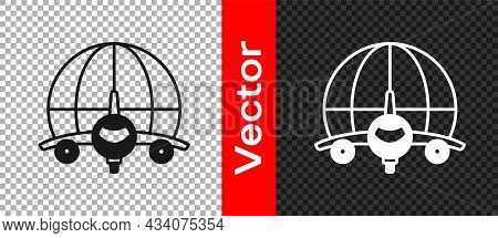 Black Globe With Flying Plane Icon Isolated On Transparent Background. Airplane Fly Around The Plane