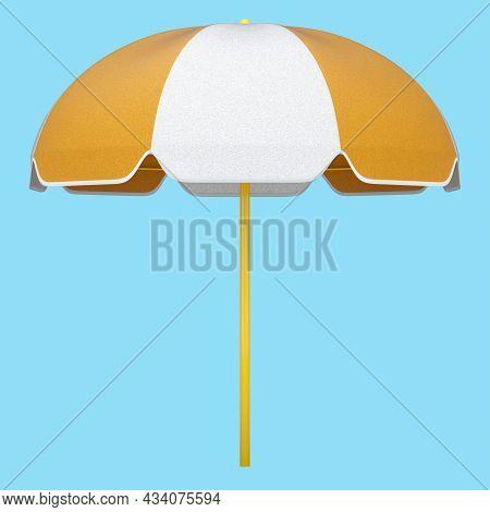 Orange Striped Beach Umbrella For Lounge Zone On Seashore Isolated On Blue.