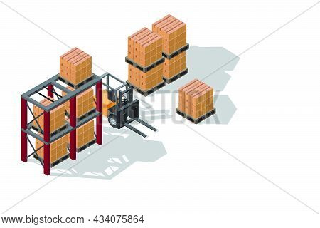 Isometric Illustration Warehouse Where Goods Are Stored On Pallets And Racks With Forklift Isolated