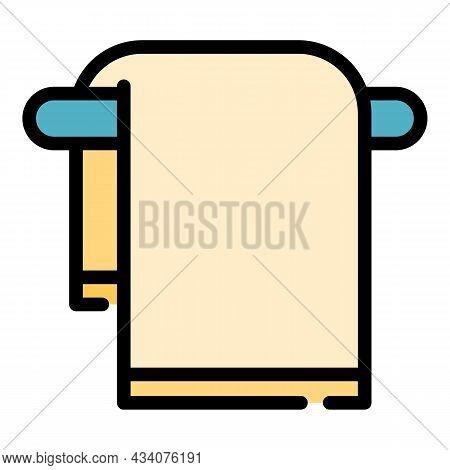 Bath Towel Icon. Outline Bath Towel Vector Icon Color Flat Isolated