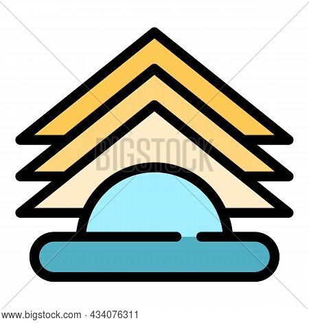 Folded Paper Napkins Icon. Outline Folded Paper Napkins Vector Icon Color Flat Isolated