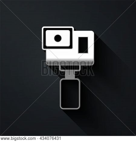 Silver Action Extreme Camera Icon Isolated On Black Background. Video Camera Equipment For Filming E