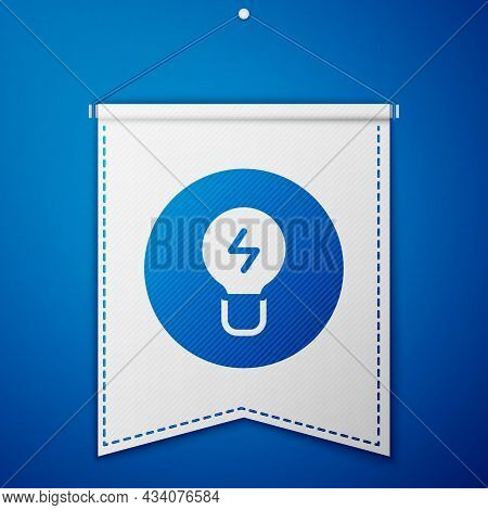 Blue Light Bulb With Concept Of Idea Icon Isolated On Blue Background. Energy And Idea Symbol. Inspi