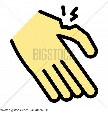 Injured Finger Icon. Outline Injured Finger Vector Icon Color Flat Isolated