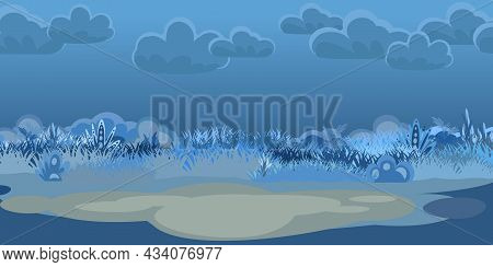 Place In A Night Meadow. Dark Herbal Glade. Sky. Grass Close Up. Rural Landscape. Glade. Cartoon Sty