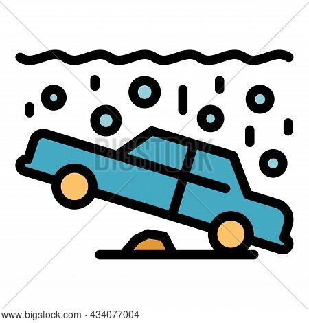 Car Accident Underwater Icon. Outline Car Accident Underwater Vector Icon Color Flat Isolated