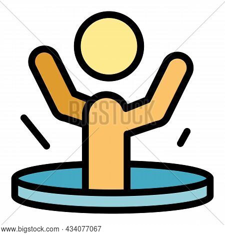 Falling Person Sewerage Icon. Outline Falling Person Sewerage Vector Icon Color Flat Isolated