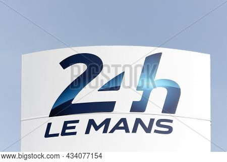 Le Mans, France - March 21, 2015: The 24 Hours Of Le Mans Logo On A Signboard. The 24 Hours Of Le Ma
