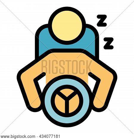 Careless Driver Sleep Icon. Outline Careless Driver Sleep Vector Icon Color Flat Isolated
