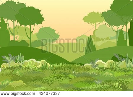 Glade. Amusing Beautiful Vegetation Landscape. Sunset. Cartoon Style. Hills With Grass And Trees. Co