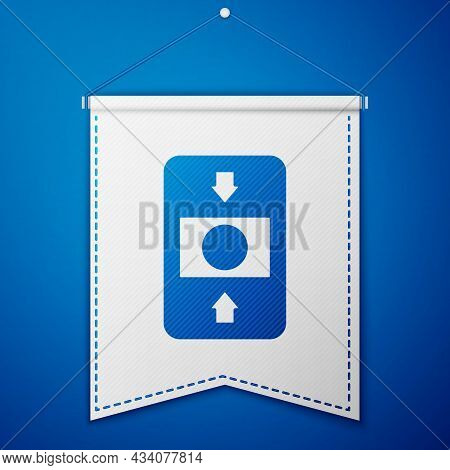 Blue Fire Alarm System Icon Isolated On Blue Background. Pull Danger Fire Safety Box. White Pennant