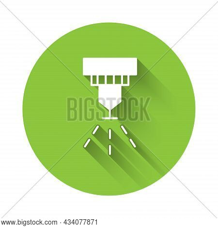 White Fire Sprinkler System Icon Isolated With Long Shadow Background. Sprinkler, Fire Extinguisher