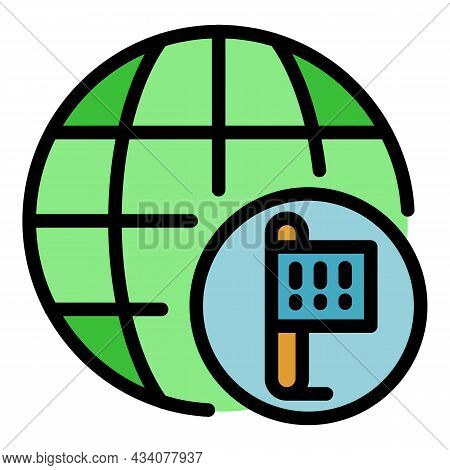 Global Location Protest Icon. Outline Global Location Protest Vector Icon Color Flat Isolated