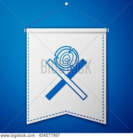 Blue Wooden Logs On A Stand Icon Isolated On Blue Background. Stack Of Firewood. White Pennant Templ