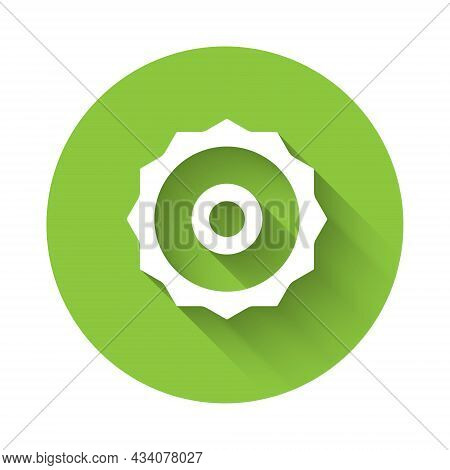 White Circular Saw Blade Icon Isolated With Long Shadow Background. Saw Wheel. Green Circle Button.