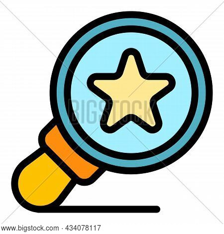 Favorite Magnifier Icon. Outline Favorite Magnifier Vector Icon Color Flat Isolated