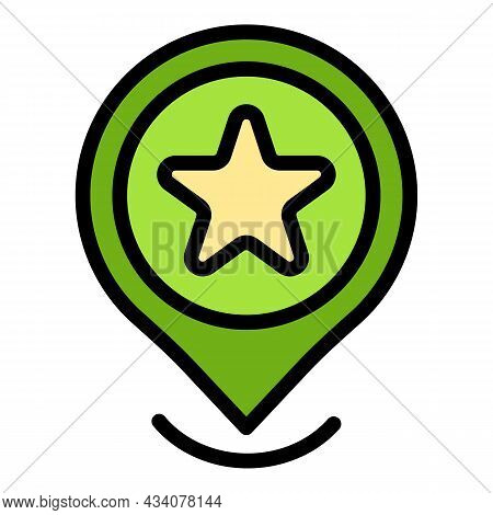 Favorite Gps Location Icon. Outline Favorite Gps Location Vector Icon Color Flat Isolated