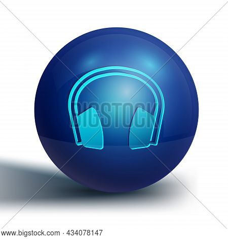 Blue Noise Canceling Headphones Icon Isolated On White Background. Headphones For Ear Protection Fro