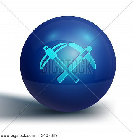 Blue Pickaxe Icon Isolated On White Background. Blue Circle Button. Vector