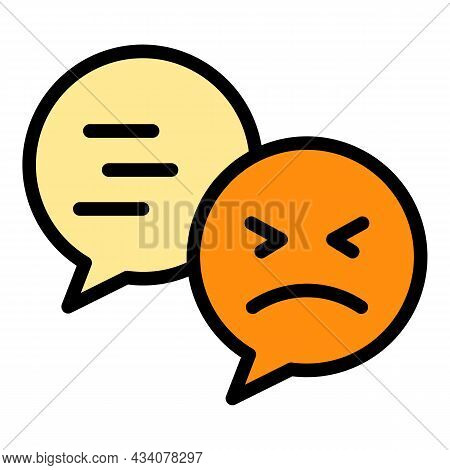 Chat Dislike Icon. Outline Chat Dislike Vector Icon Color Flat Isolated