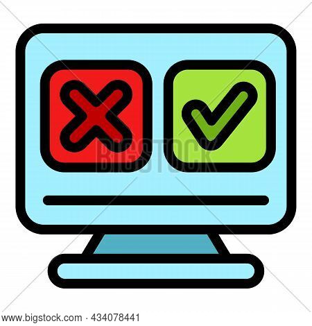 Media Online Survey Icon. Outline Media Online Survey Vector Icon Color Flat Isolated