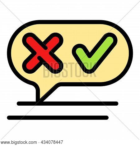 Chat Survey Icon. Outline Chat Survey Vector Icon Color Flat Isolated
