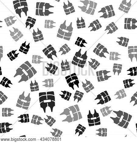 Black Life Jacket Icon Isolated Seamless Pattern On White Background. Life Vest Icon. Extreme Sport.