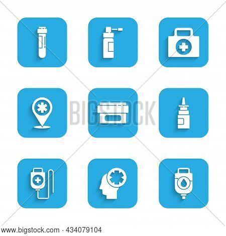 Set Ointment Cream Tube Medicine, Male Head With Hospital, Iv Bag, Bottle Nasal Spray, Map Pointer C