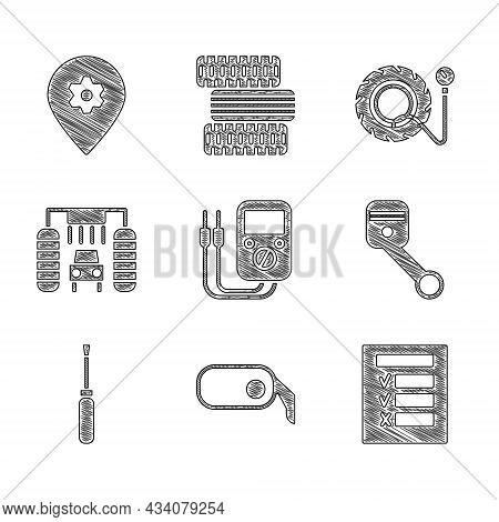 Set Multimeter, Car Rearview Mirror, Inspection, Engine Piston, Screwdriver, Wash, Tire Pressure Gau