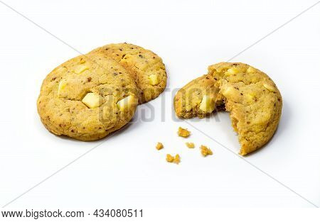 Lemon Cookies With White Chocolate On White Background
