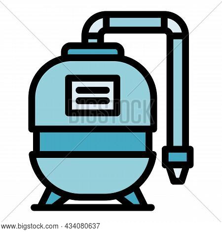 Filter Water Pump Icon. Outline Filter Water Pump Vector Icon Color Flat Isolated
