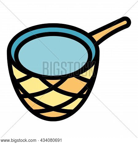 Pool Cleaning Net Icon. Outline Pool Cleaning Net Vector Icon Color Flat Isolated