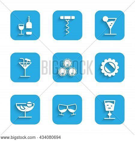 Set Wooden Barrels, Glass Of Cognac Or Brandy, Wine Glass, Bottle Cap, Cocktail, Martini And Bottle
