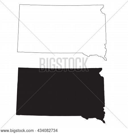 South Dakota Map On White Background. South Dakota State Map Sign. Outline Map Of South Dakota. Flat