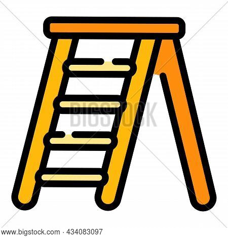 Home Step Ladder Icon. Outline Home Step Ladder Vector Icon Color Flat Isolated