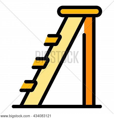 Wooden Step Ladder Icon. Outline Wooden Step Ladder Vector Icon Color Flat Isolated