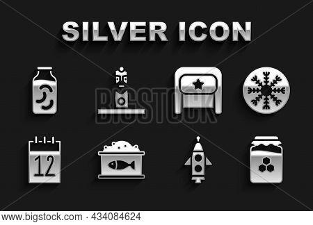 Set Tin Can With Caviar, Snowflake, Jar Of Honey, Rocket Ship, Calendar 12 June, Ushanka, Pickled Cu