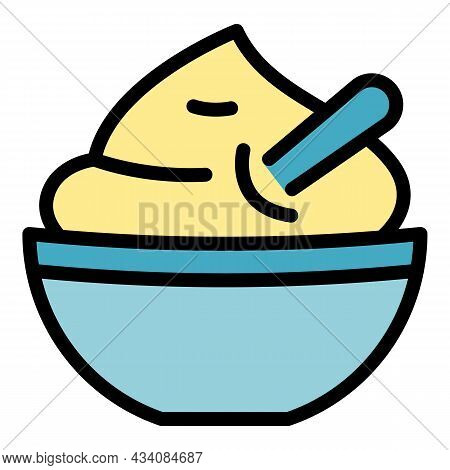 Lunch Mashed Potatoes Icon. Outline Lunch Mashed Potatoes Vector Icon Color Flat Isolated