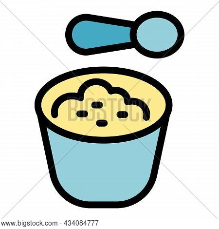 Spoon Mashed Potatoes Icon. Outline Spoon Mashed Potatoes Vector Icon Color Flat Isolated