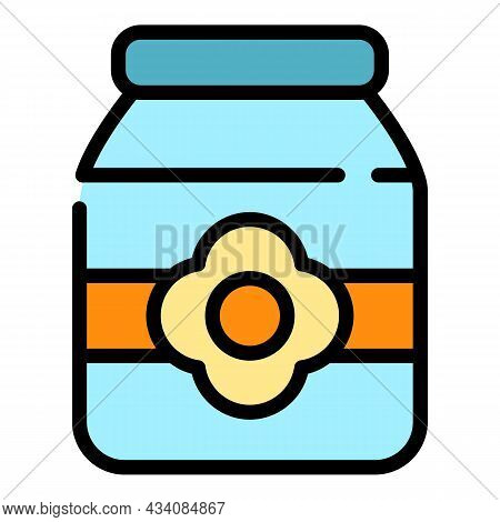 Pickled Jar Icon. Outline Pickled Jar Vector Icon Color Flat Isolated