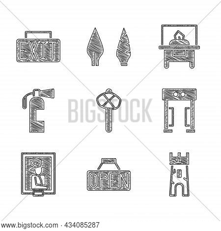 Set Stone Age Hammer, Hanging Sign With Open, Castle Tower, Metal Detector, Portrait Museum, Fire Ex
