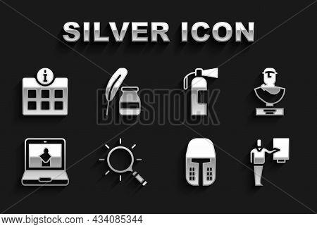 Set Magnifying Glass, Ancient Bust Sculpture, Museum Guide, Medieval Iron Helmet, Online Museum, Fir