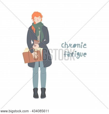 Chronic Fatigue. Exhausted Girl Suffer Postcovid Syndrome Feeling Weak, Low Energy State, Vector Ill
