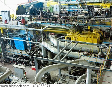 Power Generator Steam Turbine In Repair Process, Machinery, Pipes, Tubes, At An Power Plant