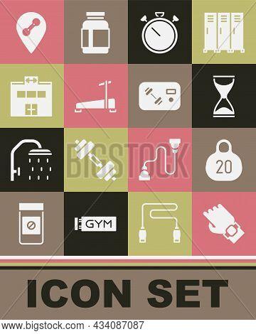 Set Smart Watch On Hand, Kettlebell, Old Hourglass, Stopwatch, Treadmill Machine, Gym Building, Loca