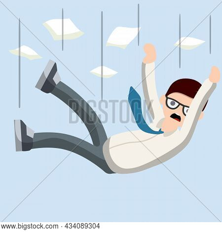 Falling Down Man In Shirt And Tie. Office Problem. Employee Dismissal. Money And Crisis. Scared Guy.